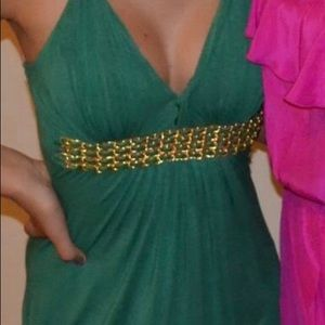 Summer green dress and gold